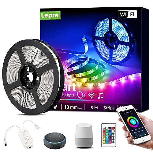 Lepro Smart LED Strip 5M Musiksteuerung,Wifi LED Streifen RGB Dimmbar, Wlan LED Band,Superhell Lichtband Selbstklebend,Farbwechsel Lichterkette mit Fernbedienung,Kompatibel mit Alexa,App,Google Home