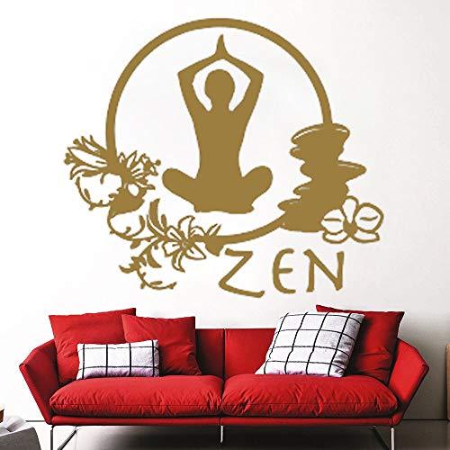 Vinyl Yoga Haltungsaufkleber für Yoga Studio Wandtattoo Abnehmbare Meditation Lotus Flower Buddha Yoga - 67X59CM