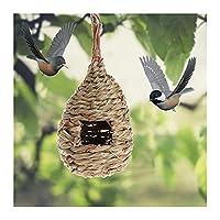 XNBZJ ナチュラルココナッツシェル鳥ケージオウムの家ネスティングハウスケージストラップスモールペットオウムネスレ (Color : Grass bird nest)