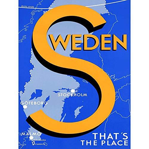 Wee Blue Coo Resa turism Sverige Stockholm Malmo Göteborg karta konsttryck affisch väggdekor 30 x 40 cm