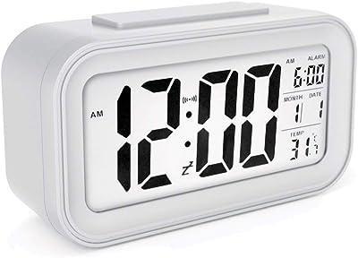 ZOUQILAI Pantalla LED Grande Reloj Despertador Reloj Despertador Moderno Digital Función Despertador Activado Luz Nocturna silenciosa