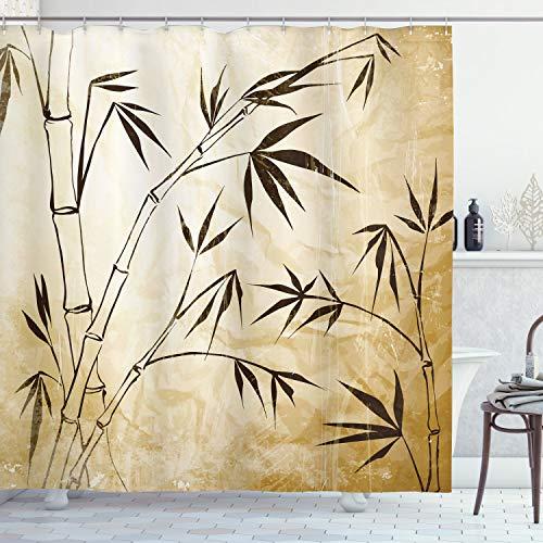 ABAKUHAUS Bambus Duschvorhang, Gradient Bambus-Blätter, Bakterie Schimmel Resistent inkl. 12 Haken Waschbar Stielvoller Digitaldruck, 175 x 180 cm, Braune Sahne