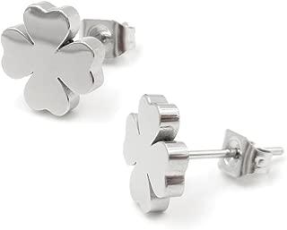 Stainless Steel Four Leaf Clover Post Stud Earrings For Women Girls Gold Silver 9mm