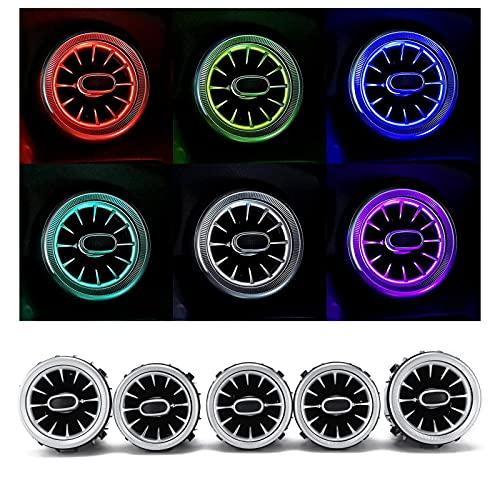 Luces de ventilación de aire Perillas de aire acondicionado Tablero de instrumentos delantero interior 5 piezas de 64 colores LED frontal de turbina de ventilación de aire Kit de luz ambiental de repu