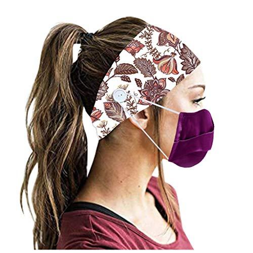 SIOPEW Multifunktions SchweißBand Mit KnöPfen Reisen Im Freien Laufen Yoga Elastisches Haarband Bequem