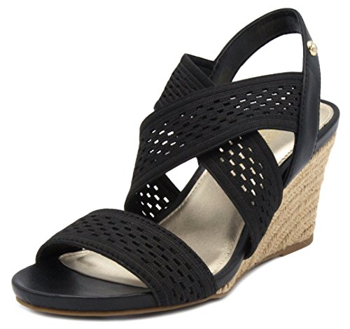 London Fog Womens Pickwick Open Toe Espadrille Stretch Wedge Sandals Black 8
