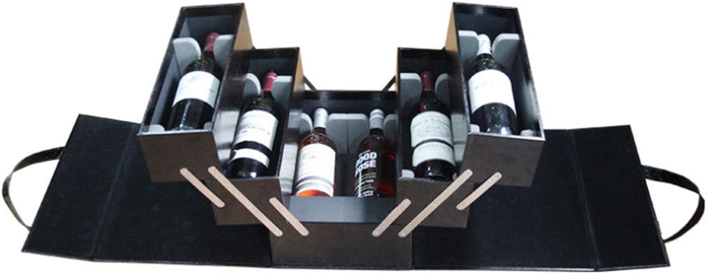 grandes ahorros Caja de vino vino vino de gran Tamaño de múltiples capas para 6 botellas Caja de soporte de vino Portátil PU negro Asa superior Manija de viaje Portador de vino vino de champán Rojo Caja de embalaje de regalo p  compras de moda online