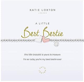 Katie Loxton A Little Best Bestie Hearts Silver Women's Stretch Adjustable Charm Bangle Bracelet