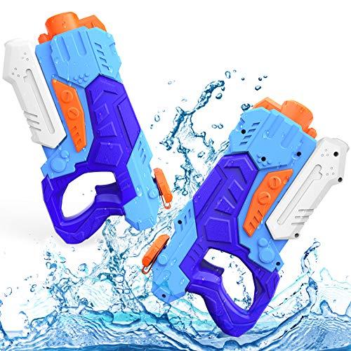 Kiztoys Giochi per Piscina Bambini, 2 potenti pistole ad acqua con 600 ml di grande capacità e 27 piedi a lungo raggio per sport acquatici estivi Garden Beach