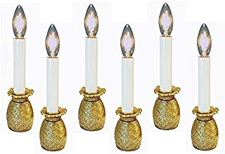 KensingtonRow Home Collection Candle Lamps - Brass Pineapple Electric Window Candlestick Lamps - Set of SIX