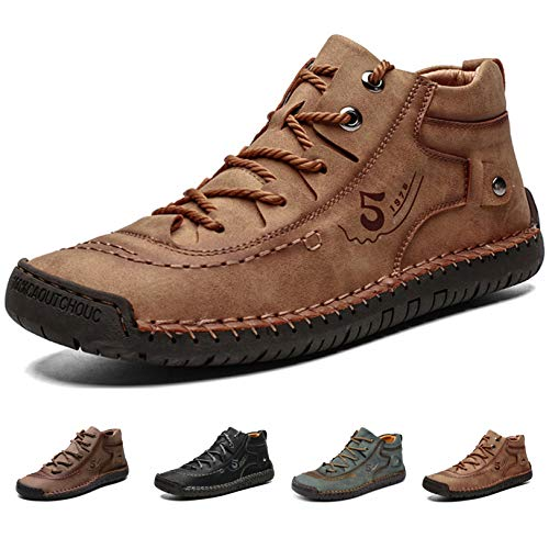MAIZUN Mens Cold Weather Shoes Comfortable Winter Warm Lining Ankle Boots Leather Casual Loafers Lace-up Hand Stitching Driving Chukka Boots Brown