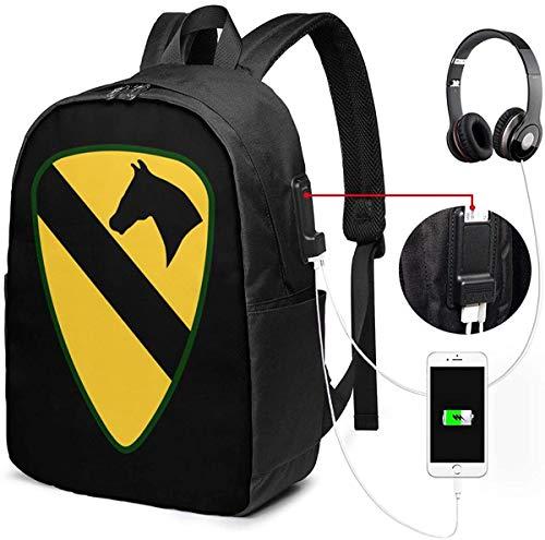 Llynice 1st Cavalry Division USB Rucksack Carry On Taschen 17 Zoll Laptop Rucksack für Reisen Schule Business