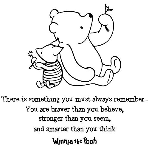 24'x24' Always Remember You Are Braver Than You Believe Stronger Than You Seem and Smarter Than You Think Winnie The Pooh Wall Decal Sticker Color Choices Wall Decal Sticker Art Mural Home Décor Quote