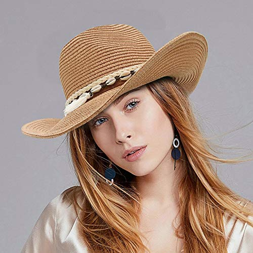 LTH-GD Gorra y sombrero de invierno de ala ancha para verano, visera de vaquera, para mujer, bohemia, borla, Panamá, Jazz, sombrero, sombrero de paja para mujer, color café, tamaño: 56-58)