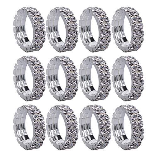Fityle 12Pcs 6mm Wide Elastic Stretch Crystal Engagement Wedding Promise Ring Band - Clear