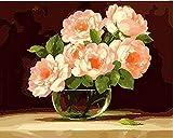 HUINXVEU Flores de Color Rosa en Vaso de Vidrio Pintura al óleo Digital Nivel de Principiante Junior colorante Número de Color DIY Set de Regalo Regalo Sorpresa Gran Logro pintor40x50cm Sin Marco