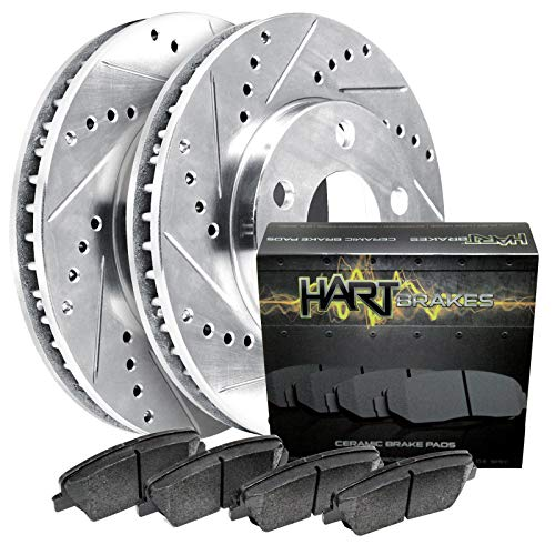 For 1999-2004 Land Rover Discovery Front HartBrakes Brake Rotors Kit+Ceramic Pads