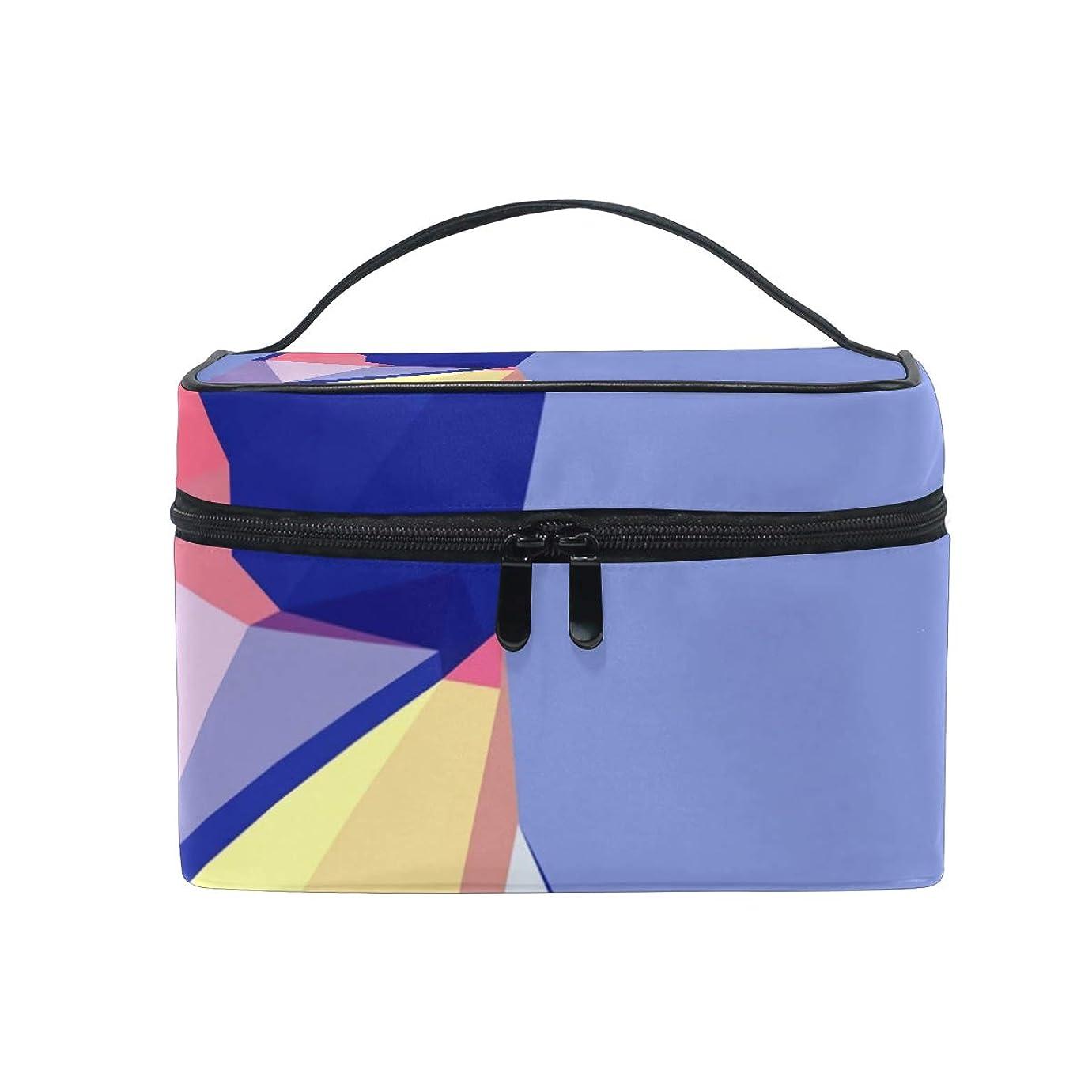 現れる摂氏敬意を表するメイクボックス 低ポリ幾何学柄 化粧ポーチ 化粧品 化粧道具 小物入れ メイクブラシバッグ 大容量 旅行用 収納ケース