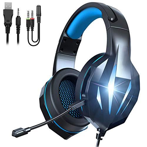 Cuffie da Gioco per PS4, JTD Cuffie Gaming con Microfono, Fascia Regolabile, Bass OverEar Jack da 3,5 mm, Luce LED, Controllo Volume, Basso Rumore per PS4/Xbox One/Nintendo Switch/PC/Mobile