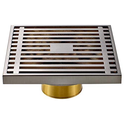 DYecHenG Bodenablauf Kupfer Bad Bodenablauf Bodenablauf Geruch Bodenablauf for Bäder Küche (Silber) für Badezimmer Toilette Küche (Color : Silver, Size : 10 x 10 x 2.5 cm)