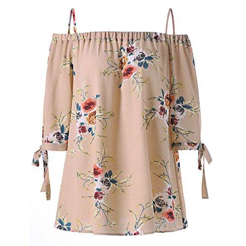 OSYARD Damen Sommer Mode Plus Size Cold Shoulder Oberteil mit 3/4-Ärmeln Shirt mit Blumendruck Casual Tops Camisole mit Floralen Details