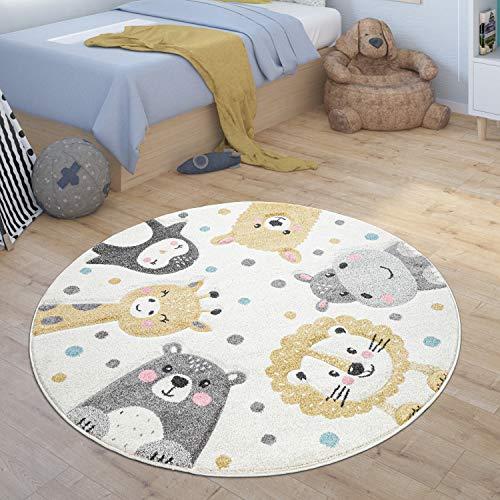 Paco Home Tapis Enfant Rond Chambre Enfant Zoo Animaux Pingouin Lama Hippopotame Lion Ours, Dimension:Ø 120 cm Rond, Couleur:Beige