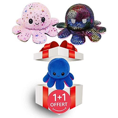 2 x Pieuros de peluche reversible, no tóxico, CE, pulpo, Octopus humor de doble cara, con tapa de juguete para niños, adultos, regalo de cumpleaños (rosa y azul con purpurina)