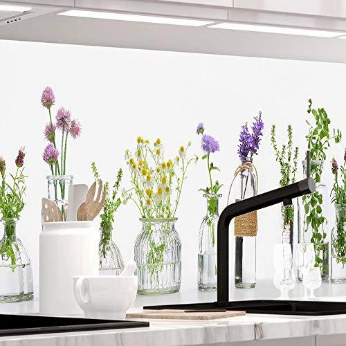 StickerProfis Küchenrückwand selbstklebend Premium KRÄUTERGLÄSER 1.5mm, Versteift, alle Untergründe, Hartschicht, 60 x 400cm