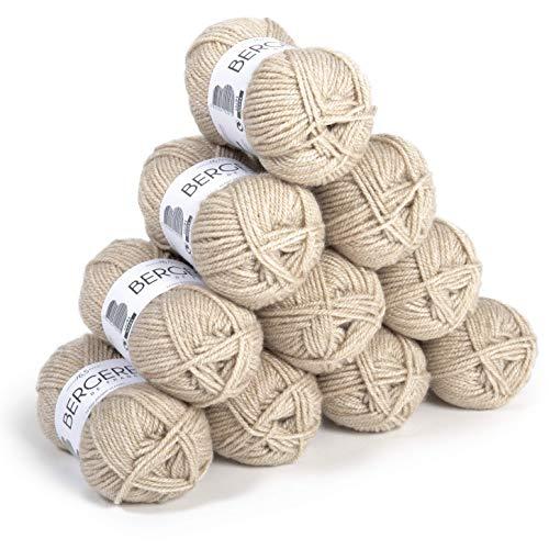 Bergère de France - BARISIENNE 7 lot 10 pelotes de laine à tricoter et crochet (10 x 50g) 6,5 mm - 100% Acrylique - Fabrication Française - Gros Fil Rond, très Doux - Beige (SABLE)