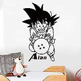 Tianpengyuanshuai Goku Nombre Personalizado Personalizado Vinilo Pegatinas de Pared Pegatinas de Dibujos Animados decoración de la habitación de los niños 45X46cm