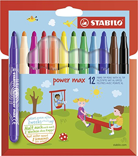 Rotulador escolar punta gruesa STABILO Power max - Estuche con 12 colores