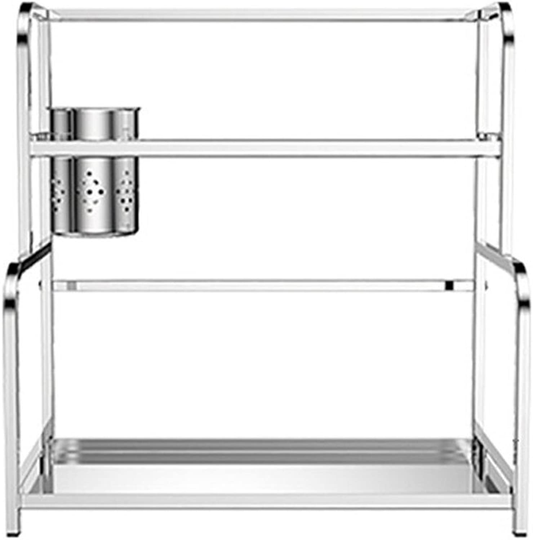LBYMYB Double Stainless Steel Kitchen Rack Cutlery Rack Spice Rack Storage Shelf Drain Kitchen Storage Rack (Size   40cm)