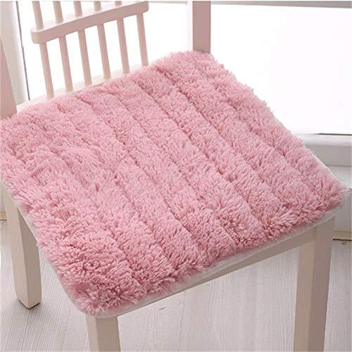 MissZZ Shaggy Cojines Antideslizantes para sillas, cómodos Cojines de Asiento Lavables Silla de Comedor Silla de Oficina para Coche Thicken Universal (la Silla no está incluida) - Rosa 45x45cm (18x
