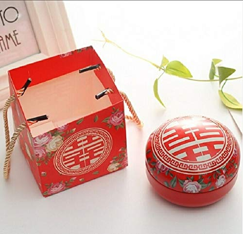Artículos de vacaciones MMGZ romántico día de San Valentín la caja del caramelo redondo plano de caramelo caja de joyería de regalo Suministros Parte festiva Bird Box asas Home Garden, color: rojo + T