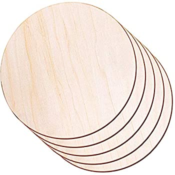Round Wood Discs for Crafts Audab 5 Pack 14 Inch Wood Circles Unfinished Wood Rounds Wood Plaque for Crafts Door Hanger Door Design Wood Burning