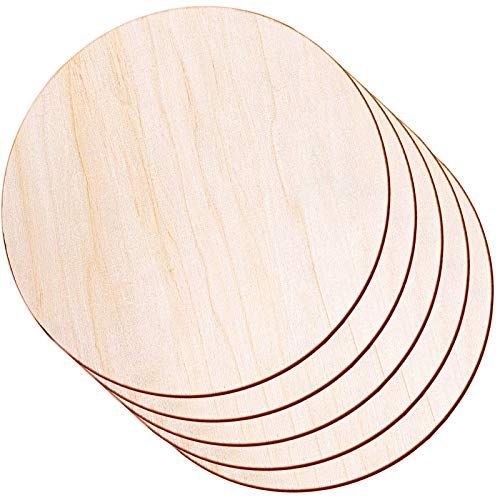 Round Wood Discs for Crafts, Audab 5 Pack 14 Inch Wood Circles Unfinished Wood Rounds Wood Plaque for Crafts, Door Hanger, Door Design, Wood Burning