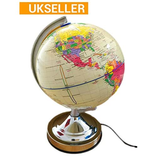 Cream 13-Inch World Globe Desk Light Up Lamp Chrome Nightlight - Four Phase Touch Control (Night, Soft, Bright and Off) - 15W Bulb, Detailed Map Ideal for Educational, Fun Novelty Gift