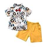 T TALENTBABY - Set di vestiti per bambini con maglietta Gentleman + pantaloncini + papillon estivi leone 3-4 Anni