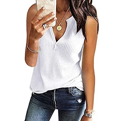 Amazon - Save 60%: Womens Summer Tank Tops Waffle Knit V Neck Sleeveless Shirts Tunic Ca…