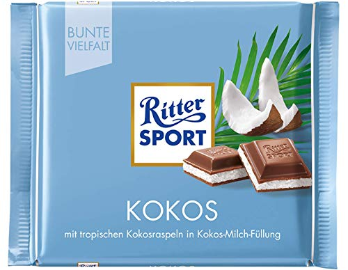 Ritter Sport Coconut Chocolate Bar Candy Original German Chocolate 100g/3.52oz