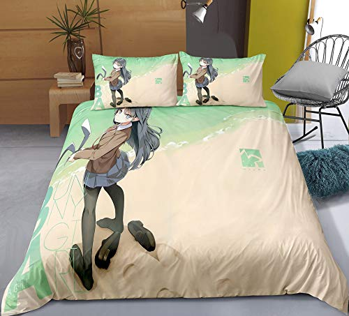 Chzhcc Three-piece Quilt Cover for Sakurajima Mai Beach Bunny, 3D Anime Quilt Pillowcase, 100% Polyester, Soft and Comfortable, Bedding for Otaku and Anime Fans, Best Birthday Gift