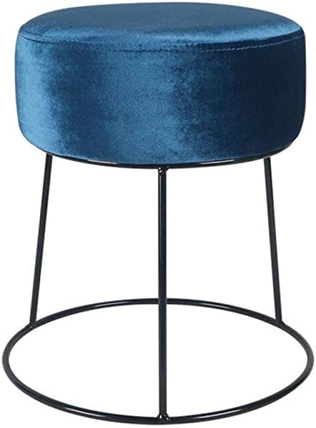 YCSD 北欧铁艺梳妆凳圆形 Pouffe 脚凳 38厘米高色海军蓝