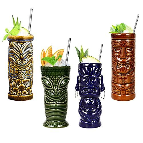 Vinbcorw Tiki Tazas, Gafas De Cóctel, Tiki Bar Accesorios, Copa De Cócteles De Cerámica, Cerámica, 400Ml - Cerámica, Diseño De Hawai, Decoración De La Fiesta,Natural