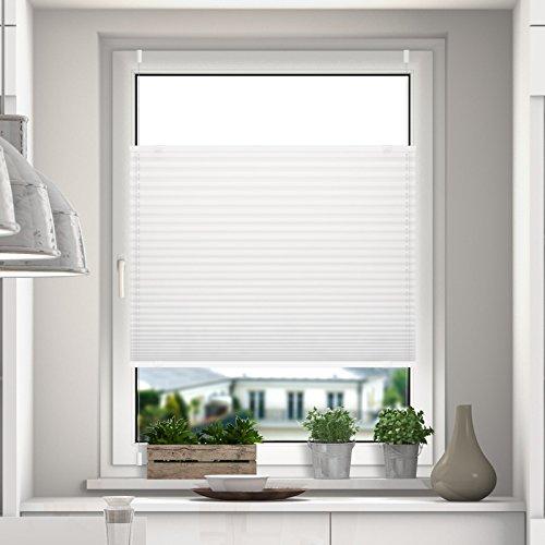 DESWIN Plissee Rollo KlemmFix ohne Bohren - 100 x 110 cm Weiss - Blickdicht Sonnenschutz und SichtschutzEasyFix Jalousie für Fenster & Tür- verspannt (inkl. 4X Klemmträger/Klemmhalter)