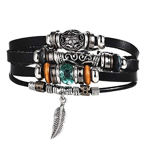 Bracelet Tissé,Réglable Vintage Bohemian Feather Natural Stone Multicouche Bracelet en Cuir À La Main Corde Braqué Bracelets &Amp; Bracelets, Approprié pour Fashion Charm Femmes Hommes Anniversa