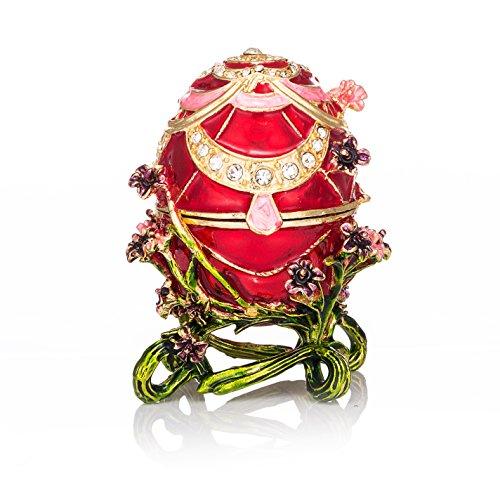 qifu-hand Painted smaltato uovo di Faberge stile decorativo incernierato gioielli Trinket box regalo unico per home decor