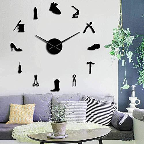 LIUXU Zapatería Herramientas de Zapatero Profesional DIY Reloj de Pared Zapato Martillo Autoadhesivo acrílico Espejo Pegatina reloj-47 Pulgadas