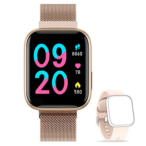 NAIXUES Smartwatch Orologio Fitness Sportivo Donna Uomo Impermeabile Smart Watch Cardiofrequenzimetro Contapassi da Polso Monitor Pressione Sanguigna Activity Tracker Compatibile con Android iOS (Oro)