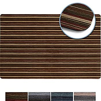 SoHome Smooth Step Fall Entryway Door/Kitchen Mat Ultra Thin Design Water Proof Stain Resistant Non Slip Rubber Backing 24  x 35  Brown