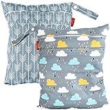HOMYBABY® Bolsa Impermeable de tela [2pcs]| Organizador de pañales o ropa para guardería y colegio | Neceser viaje, playa, piscina, deporte | Bolsa pañales de tela para bebe | Bolsa merienda infantil